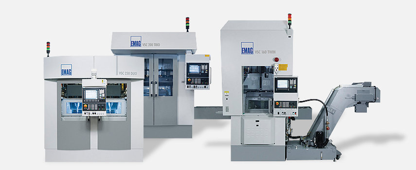 The vertical multi-spindle machines stand for high-productivity machining of chucked parts.